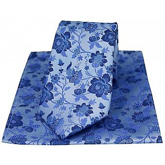 David Van Hagen Floral Patterned Tie and Handkerchief Gift Box - Sky Blue