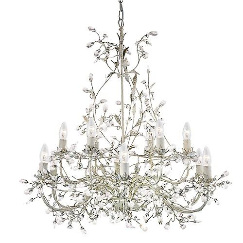 Searchlight 24912-12CR Almandite 12 luce Shabby Chic ciondolo, crema/Clear Crystal