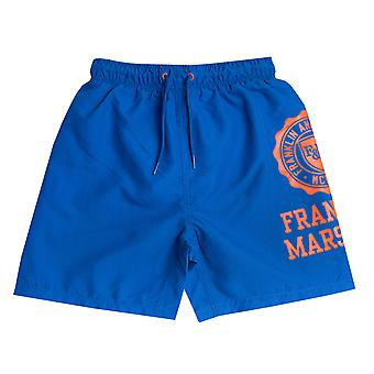 Infant Boys Franklin en Marshall core logo zwemmen kort in blauw-geribbelde