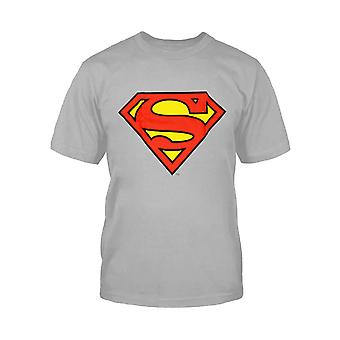 Superman T Shirt DC Comics Shield Logo Offizielle Kinder Heather Grey Age 3-15 Jahre