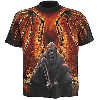Spiral Direct Gothic FLAMING DEATH - Allover T-Shirt Black|AlloverPrint|Flames|Reaper|Wings