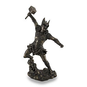 Thor, Norse God of Thunder, Wielding Hammer Sculptured Bronzed Statue