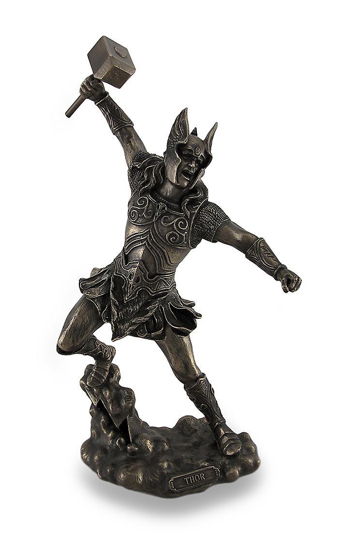 Thor, Dieu nordique du tonnerre, brandissant marteau sculpté une Statue bronzée