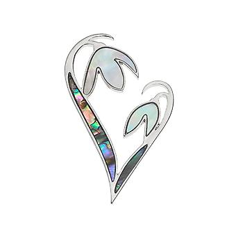 Eternal Collection Snowdrop Heart Paua Shell And Mother Of Pearl Silver Tone Brooch