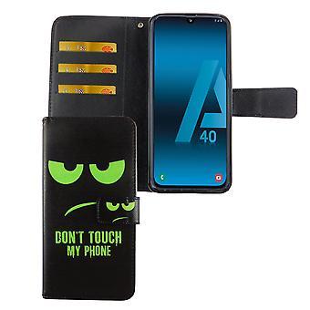 Samsung Galaxy A40 cas de téléphone couvrir le boîtier de couverture avec compartiment de carte Ne touchez pas mon téléphone