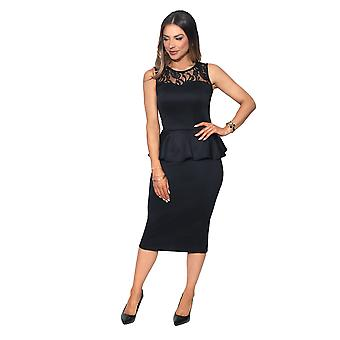 KRISP Lace Back Peplum Midi Dress