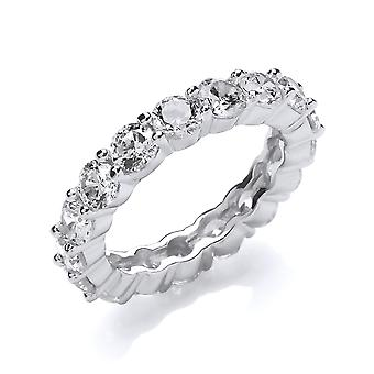 Jewelco London Ladies Rhodium Plated Sterling Silver white Round Brilliant cubic Zirconia 4 Claw Eternity Ring