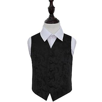 Boy's Black Passion Floral Patterned Wedding Waistcoat
