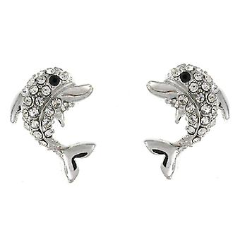 Silver and Clear Crystal Dolphin Stud Earrings