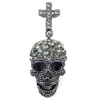 Butler and Wilson Pewter Skull Brooch Pin