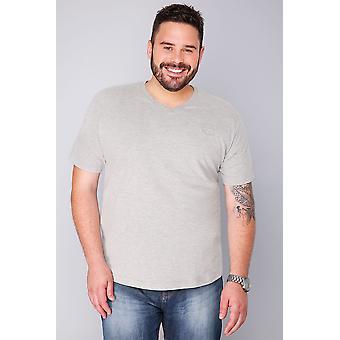 BadRhino Light Grey Marl Basic Plain V-Neck T-Shirt - TALL