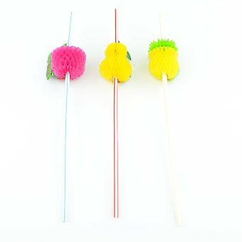 12 Cocktail Straws Fruit Pinapple Tropical Hawaiian Party Accessories Assorted Colour