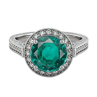2.10 ctw Emerald anello con diamanti 14k oro bianco Halo filigrana con accenti