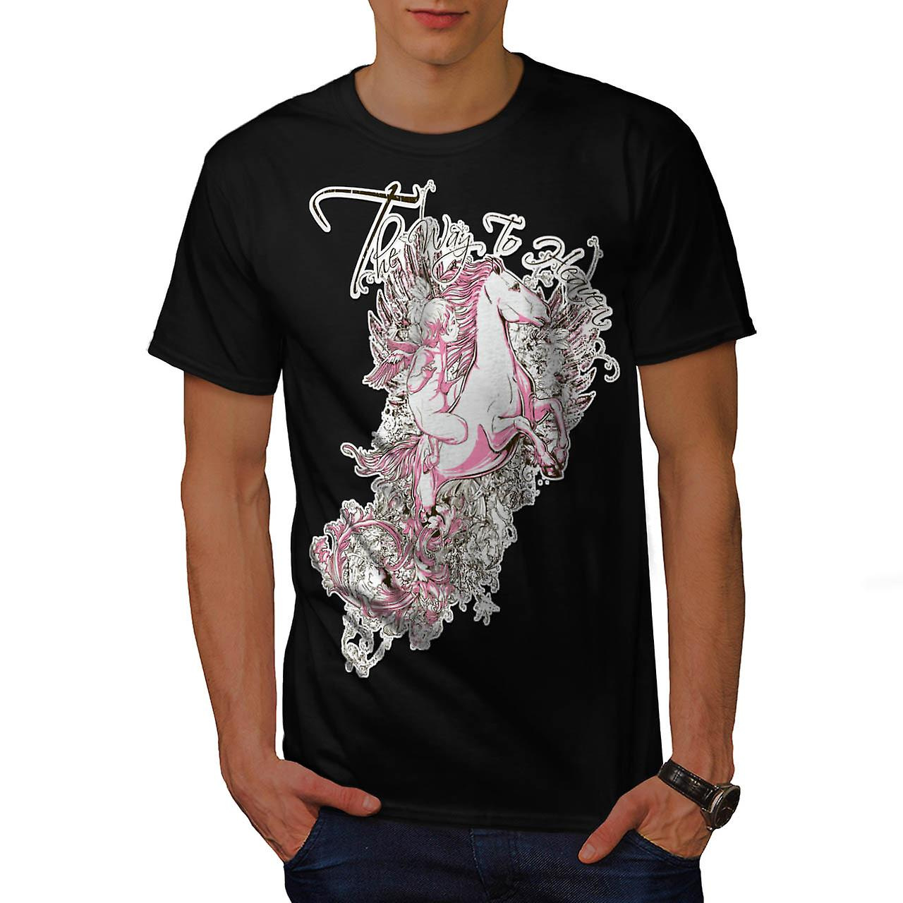 Way To Heaven Myth Unicorn Soul Men Black T-shirt | Wellcoda