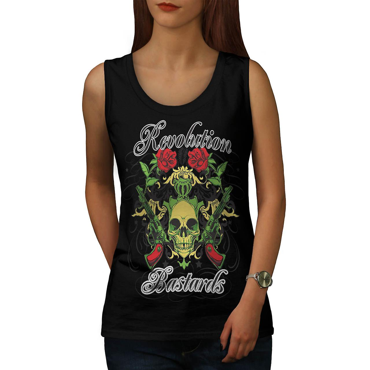 Revolution Bastards Roses Guns Women Black Tank Top | Wellcoda