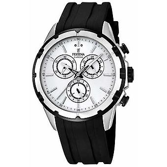 Festina Mens Chronograph Black Rubber Strap White Dial F16838/1 Watch