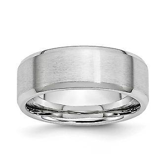 コバルト クロム彫刻用面取りエッジ研磨とサテン サテン ポーランド 8 mm バンド リング - 指輪のサイズ: 7 に 13