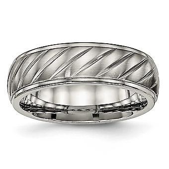7mm Titanium geborsteld en gepolijst gegroefde Ring - Ring grootte: 7 tot en met 13