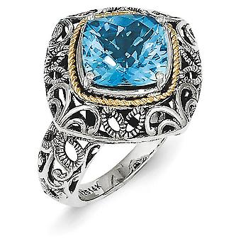 Sterling Zilver gepolijst Boulder Prong instellen met 14k Blue Topaz Ring - Ring: 6 tot en met 8
