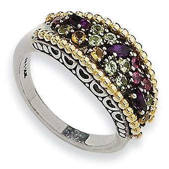 Sterling Silver Antique finish With 14k .88Multi Gemstone Ring - Ring Size: 6 to 8