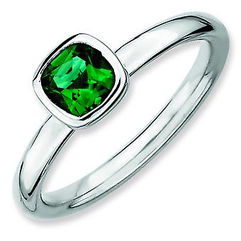 Sterling Silver Stackable Expressions Cushion Cut Cr. Emerald Ring - Ring Size: 5 to 10