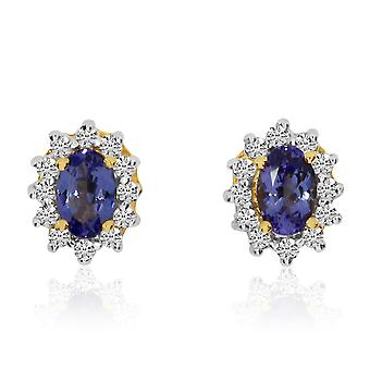 14k White Gold Oval Tanzanite and Diamond Stud Earrings