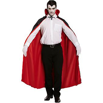 Adult's manliga Halloween länge vändbar svart / röd Cape Fancy Dress kostym