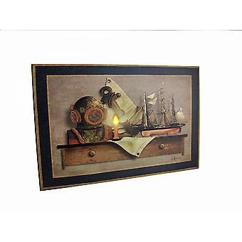Sea Gear On Wall Shelf LED Lighted Canvas Wall Hanging