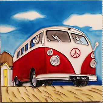 YH Arts Ceramic Wall Art, Solo Camper Van 8 x 8