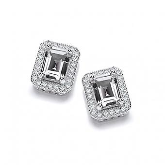 Cavendish French Delightfully Deco Silver and CZ Solitaire Earrings