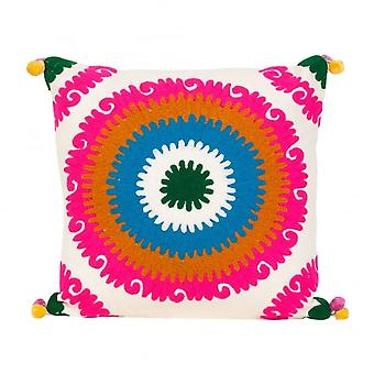 Boutique Camping multicolores Pom Pom dentelle coussin