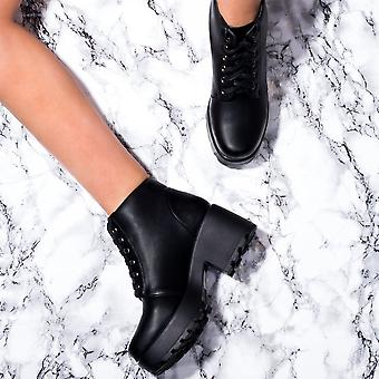 Spylovebuy HOTHEAD Lace Up Cleated Sole Platform Block Heel Ankle Boots Shoes - Black Leather Style