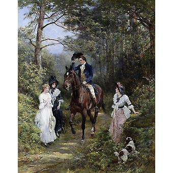 Heywood Hardy - The meeting in the forest Poster Print Giclee