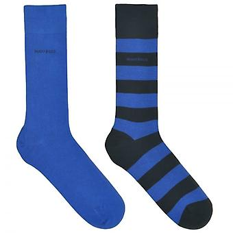 HUGO BOSS 2-Pack Cotton Logo Socks, Navy/Stripe, 39/42