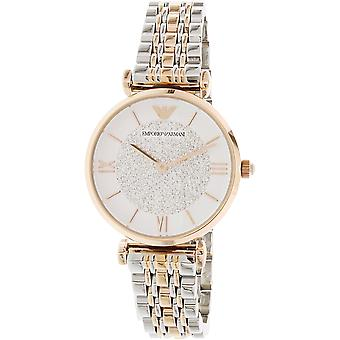 Emporio Armani AR1926 Two-Tone Silver & Gold T-Bar Strap Mother of Pearl Dial Ladies Watch