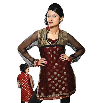 Rust colored viscose Kurti with net sleeves and half body neckline and collar.