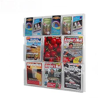 6 Pocket DL Leaflet and 6 Pocket A4 Brochure Holder - Wall Mounted
