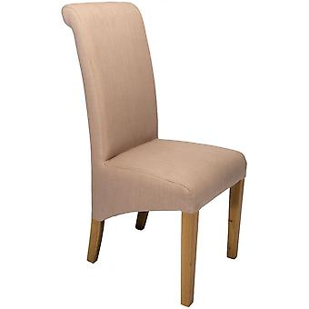 Classic Roll Top Fabric Dining Chair - Putty