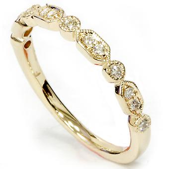 1 / 6ct Diamond Wedding Ring 14k Yellow Gold
