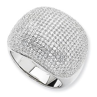 Sterling Silver Rhodium-plated and Cubic Zirconia Polished Domed Ring - Ring Size: 6 to 8
