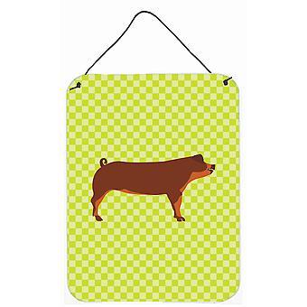 Carolines Schätze BB7768DS1216 Duroc Schwein grüne Wand oder Tür hängen Drucke