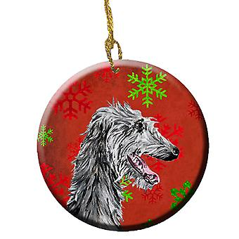 Scottish Deerhound Red Snowflakes Holiday Ceramic Ornament