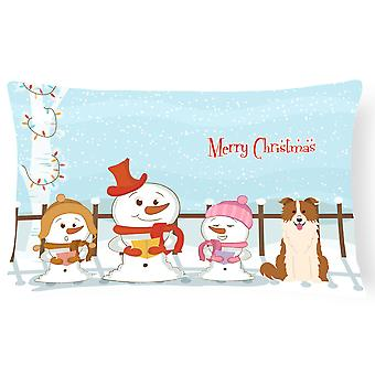 Merry Christmas Carolers Border Collie Red White Canvas Fabric Decorative Pillow