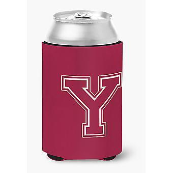 Letter Y initiële Monogram - Maroon en White kan of fles drank isolator Hu
