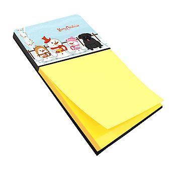 Merry Christmas Carolers Pug Black Sticky Note Holder