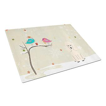 Christmas Presents between Friends Poodle White Glass Cutting Board Large