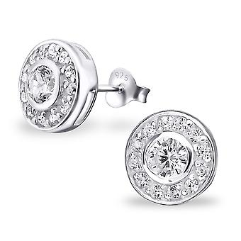 Round - 925 Sterling Silver Cubic Zirconia Ear Studs - W20325X
