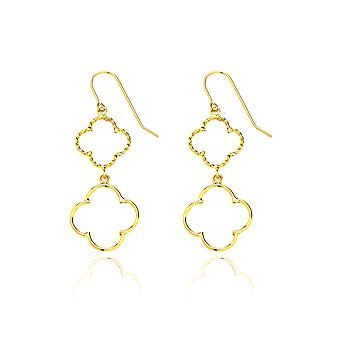 14k Yellow Gold Dangling Quatrefoil Drop Earring with Fish Hook in Gift Box
