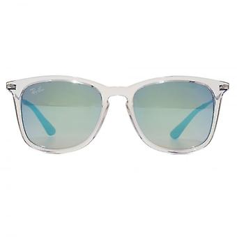 Ray-Ban Junior Square Keyhole Sunglasses In Transparent Blue Gradient Mirror