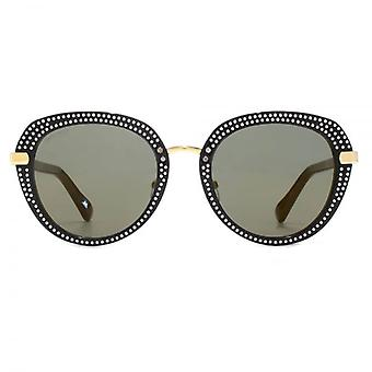 Jimmy Choo Mori Sunglasses In Black Gold